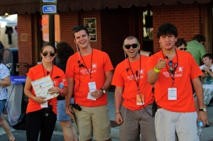 MP&F'ers Kate Vorys, Logan Pratt, Sam Kennedy and intern Andrew Colton staff the John Templeton Foundation's Spirit on the Square event in Winchester, Tenn., in June.