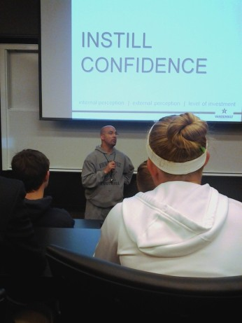 James Franklin speaks to Vanderbilt freshmen.