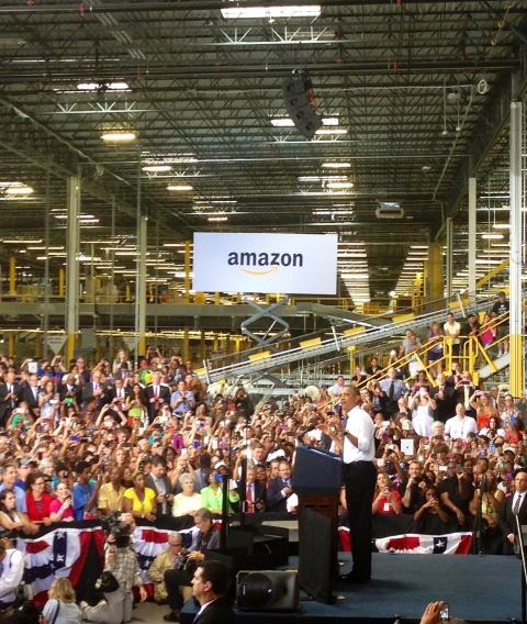 President Obama speaks at Amazon's Chattanooga Fulfillment Center earlier this week.